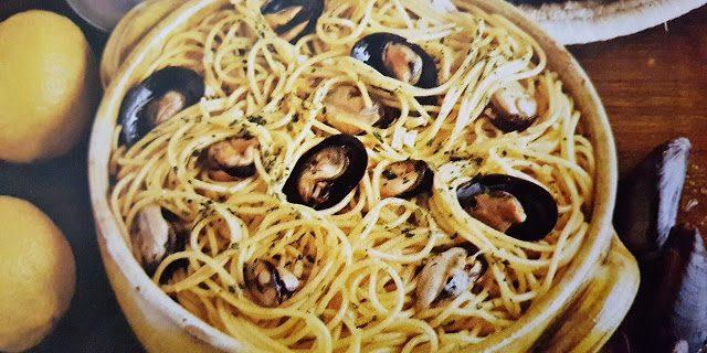 Espaguetis con mejillones